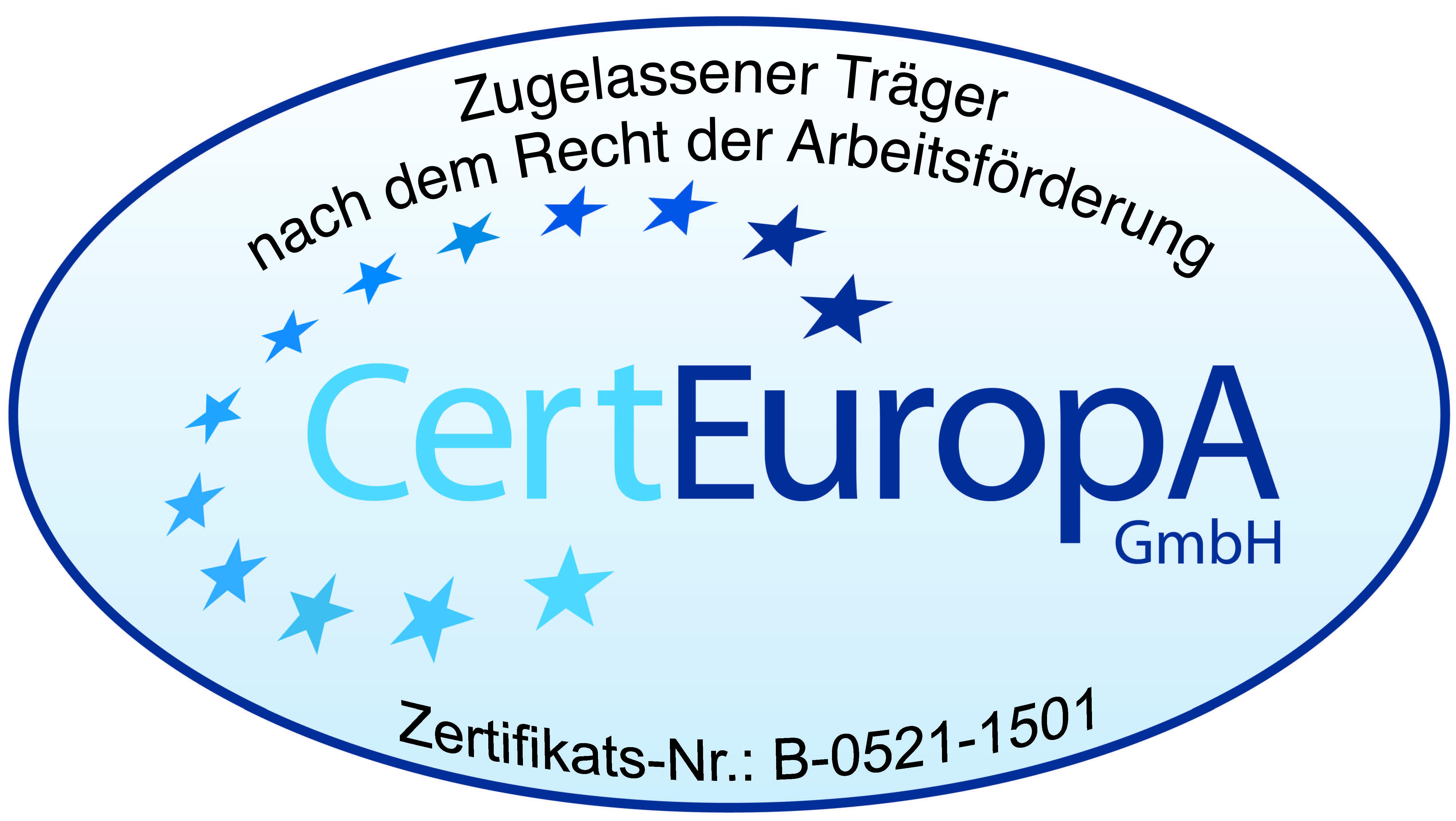 Zugelassener Träger nach dem Recht der Arbeitsförderung CertEuropA GmbH